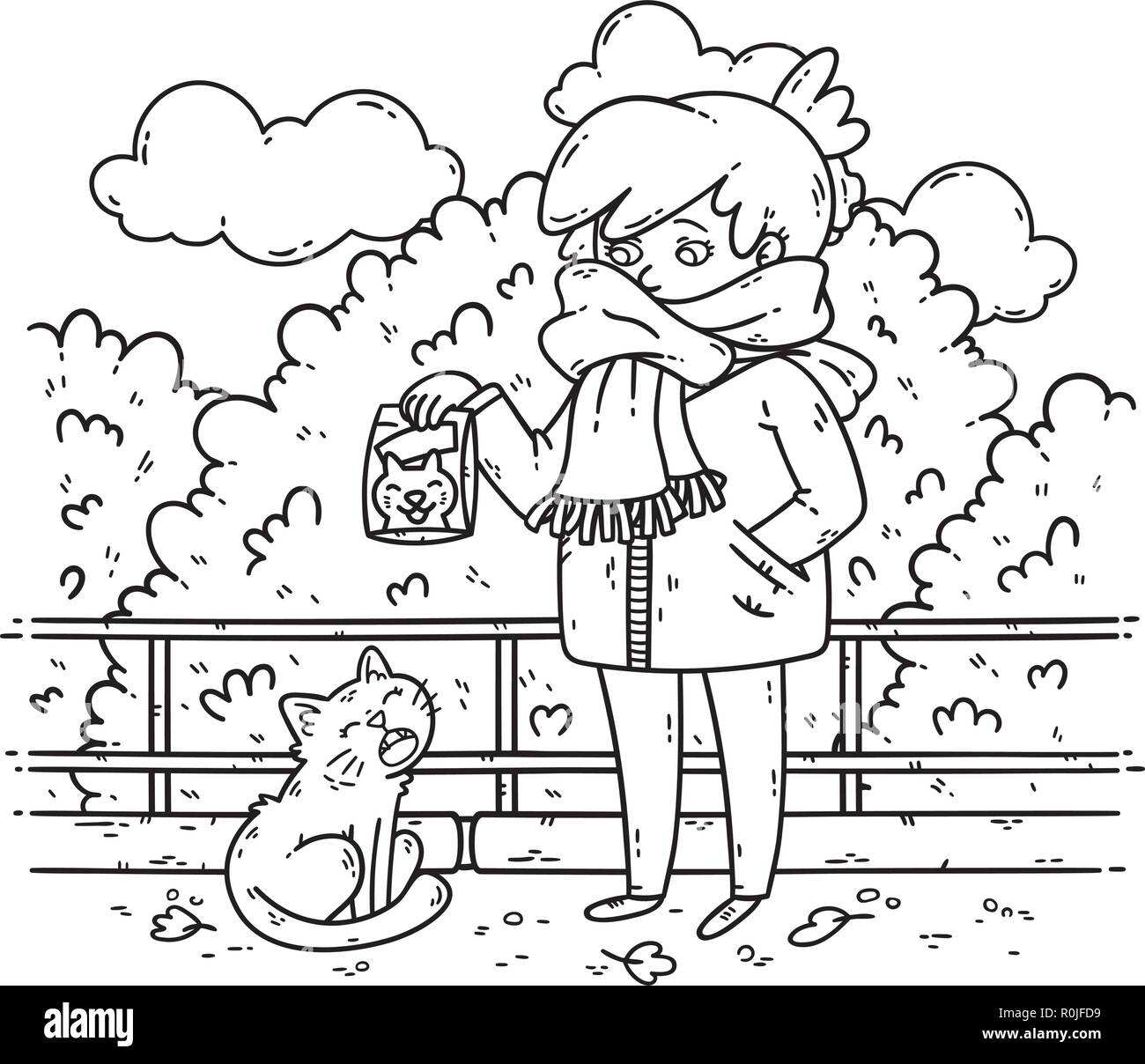 A young woman is planning to feed a stray cat. Coloring illustration for kids. Black and white illustration. Problems with stray animals. Vector illus - Stock Image