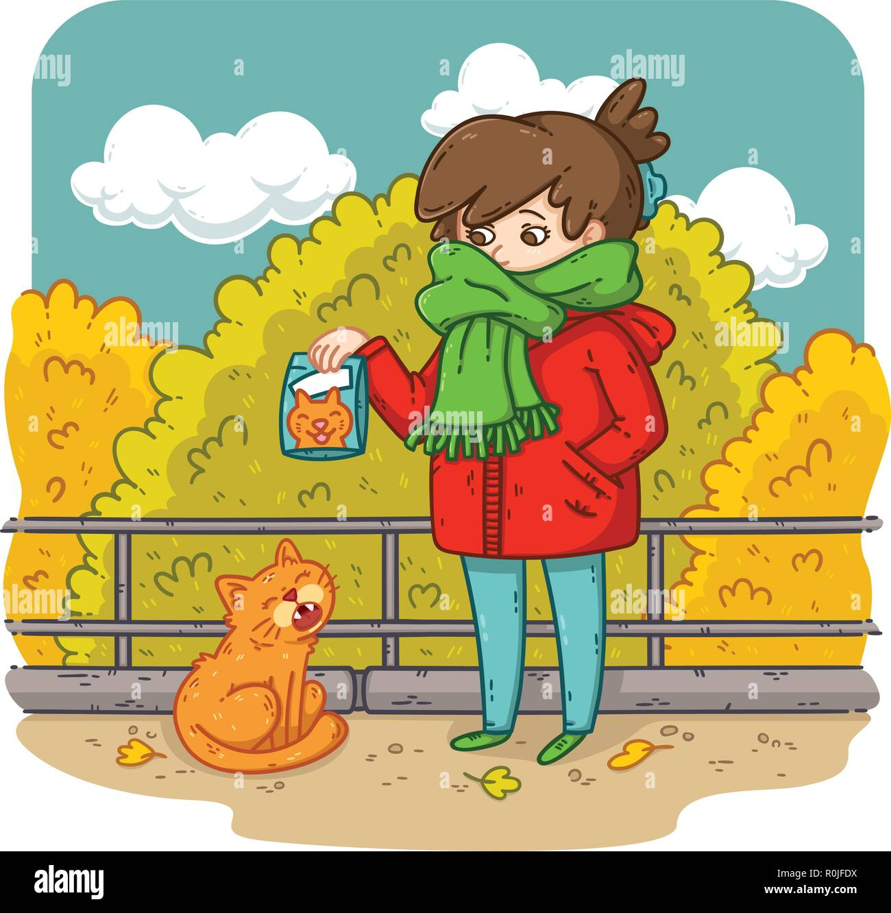 A young woman is planning to feed a stray cat. Bright and colorful illustration for kids, advertising, books, magazines. Problems with stray animals.  - Stock Vector