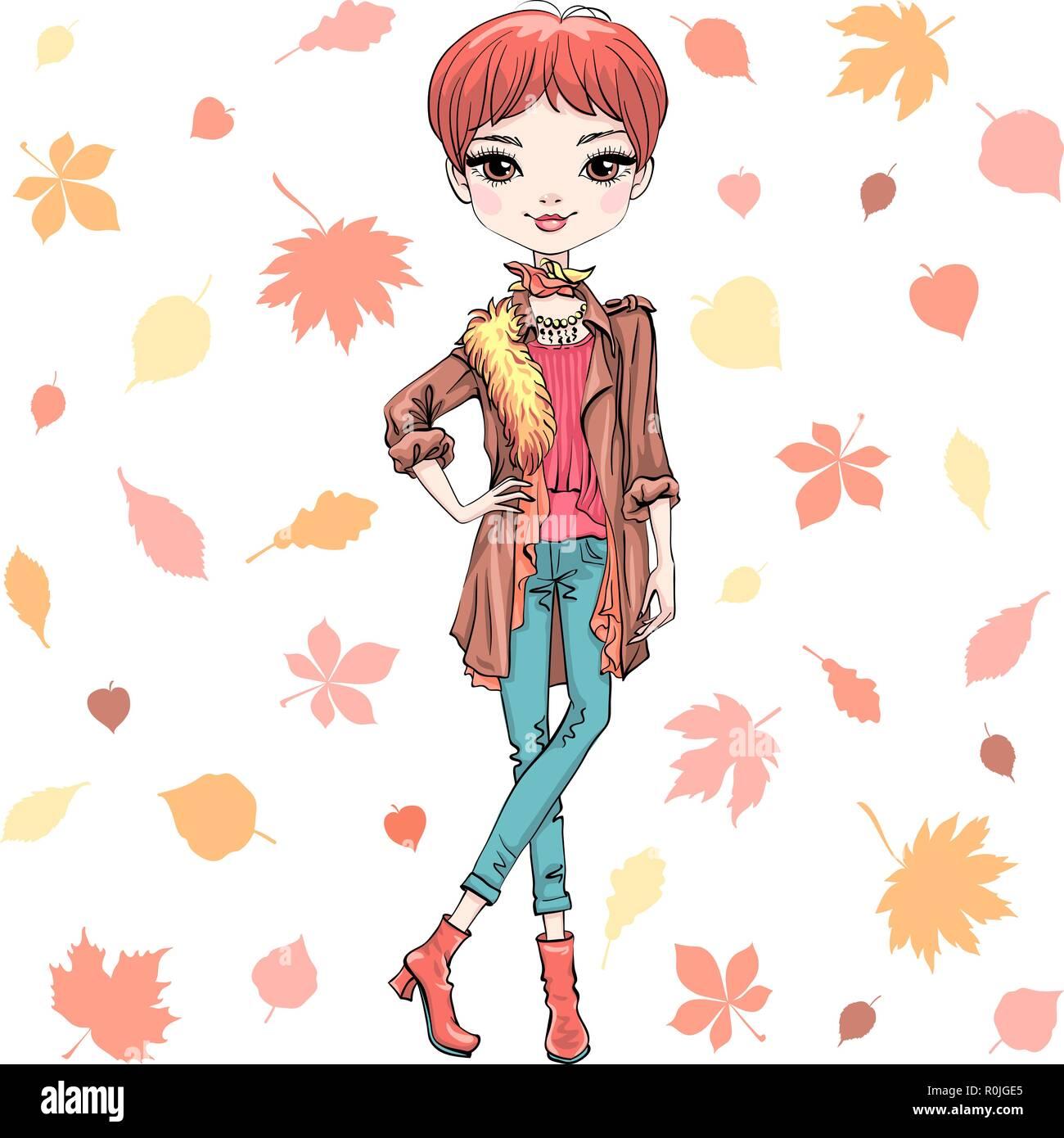 Vector fashion girl in autumn clothes - Stock Vector