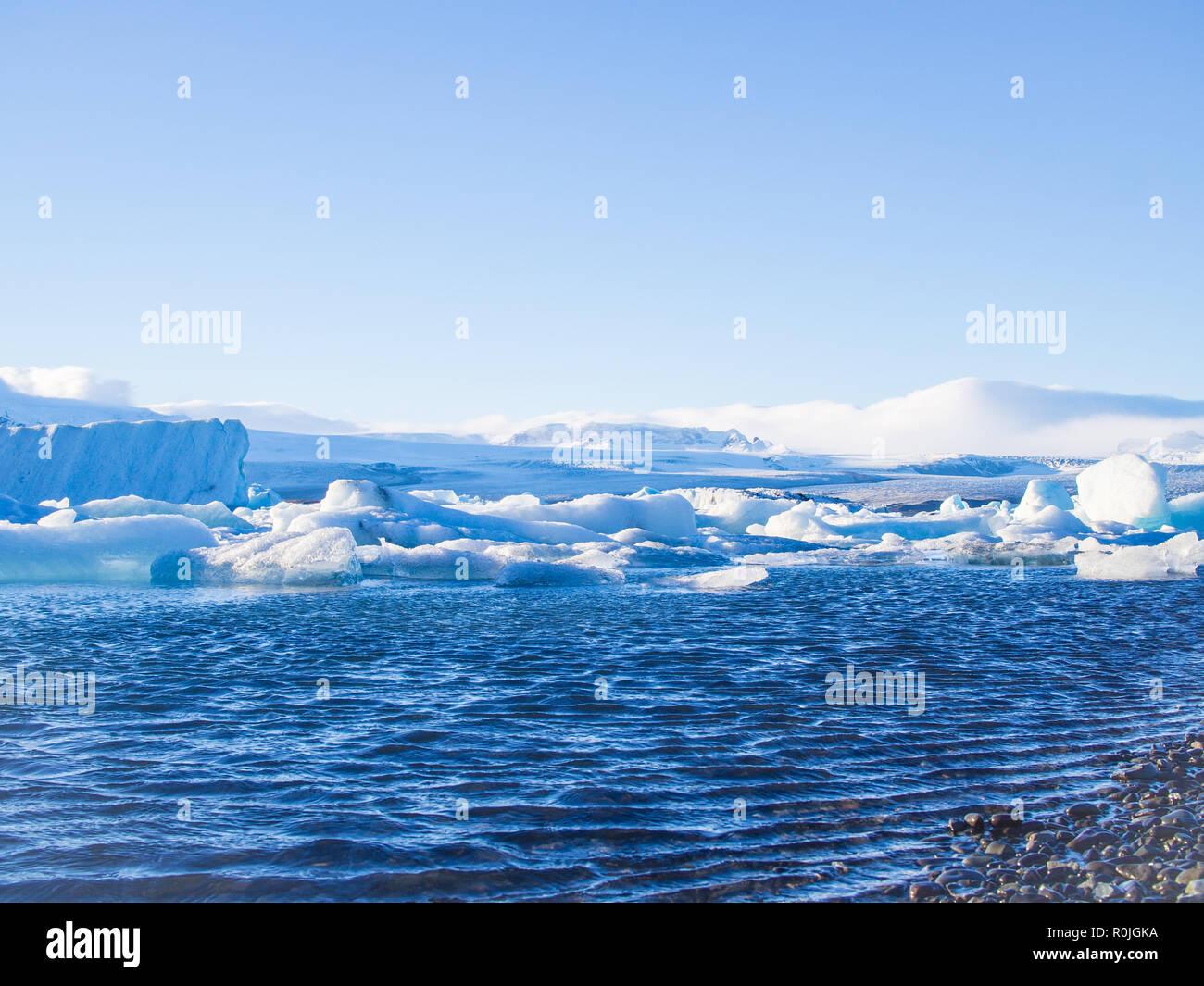 Jokulsarlon glasier lagoon in Iceland in evening - Stock Image
