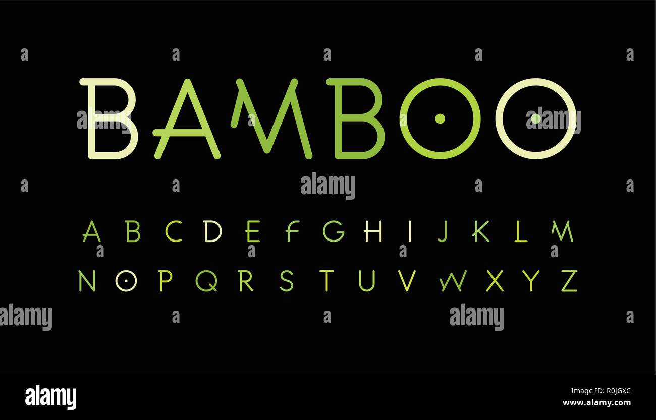 63949fa9ea Green nature alphabet. Bamboo branch style typeset. Tropical forest font.  Natural asian forest