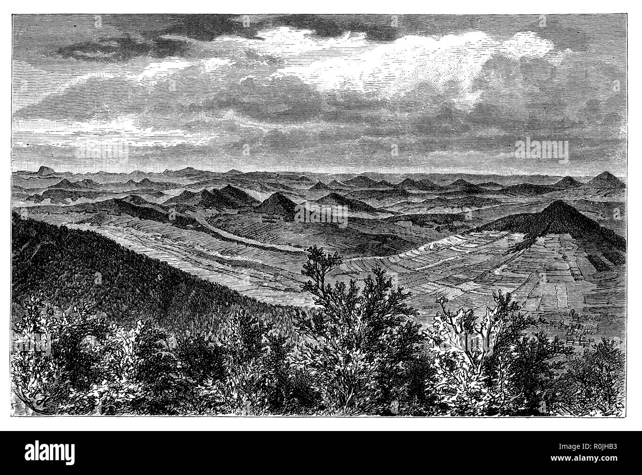 Rhön: view of the northern part,   1887 - Stock Image