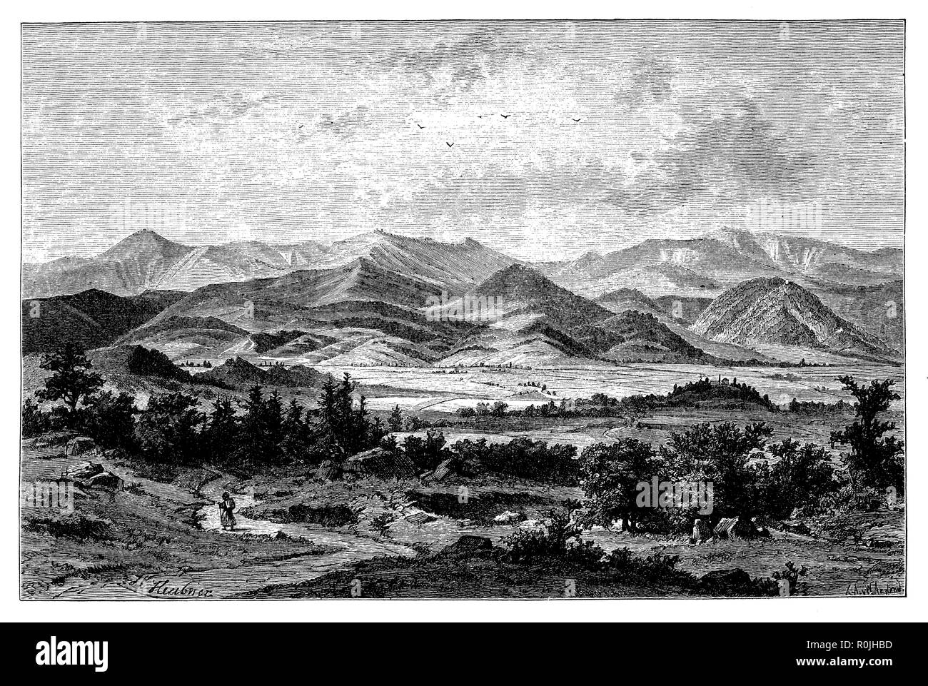 Riesengebirge, seen from the Hirschberg valley,   1887 - Stock Image