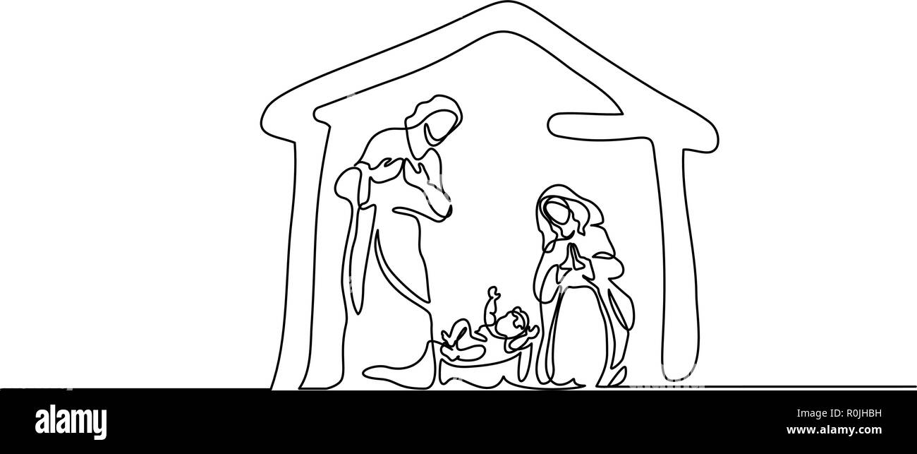 Christmas Scene Drawing.Continuous One Line Drawing Bible Merry Christmas Scene Of