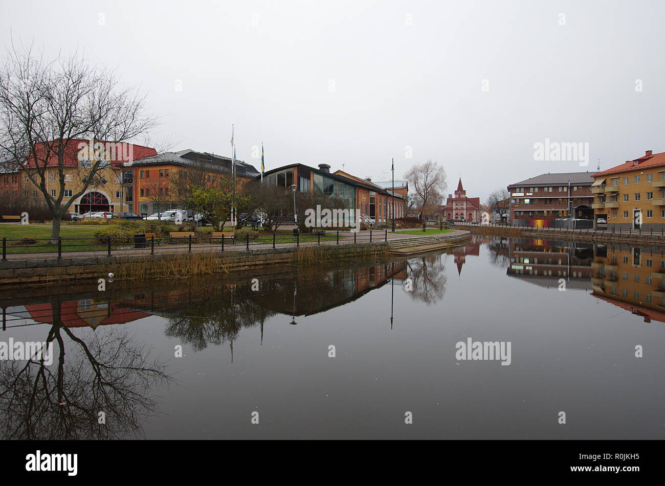 The city of Falun in Dalarna,Sweden on a gray and cold autumn day. 05.11.2018 - Stock Image