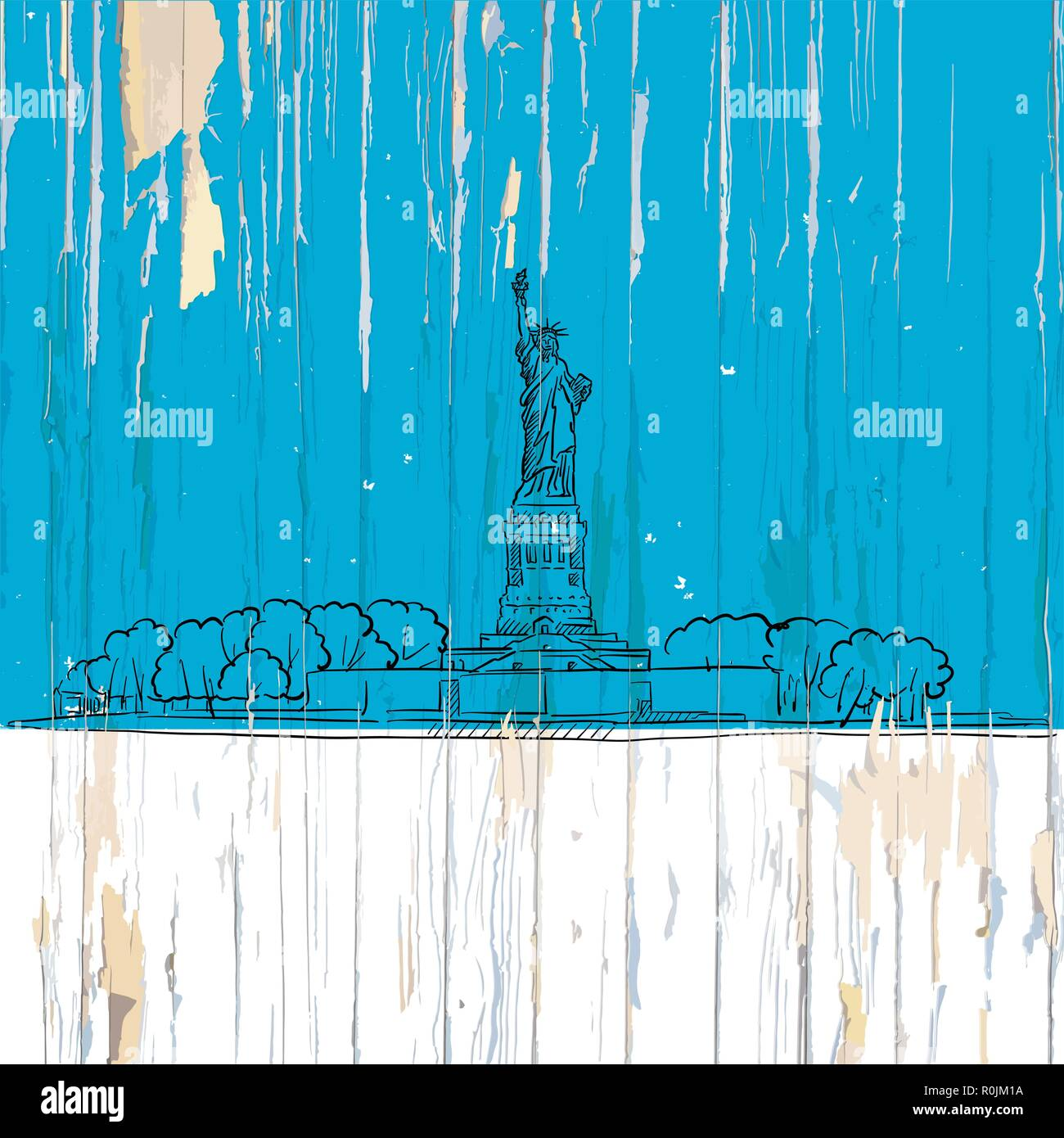 Liberty island sketch on wood. Vector illustration on vintage background. Stock Vector