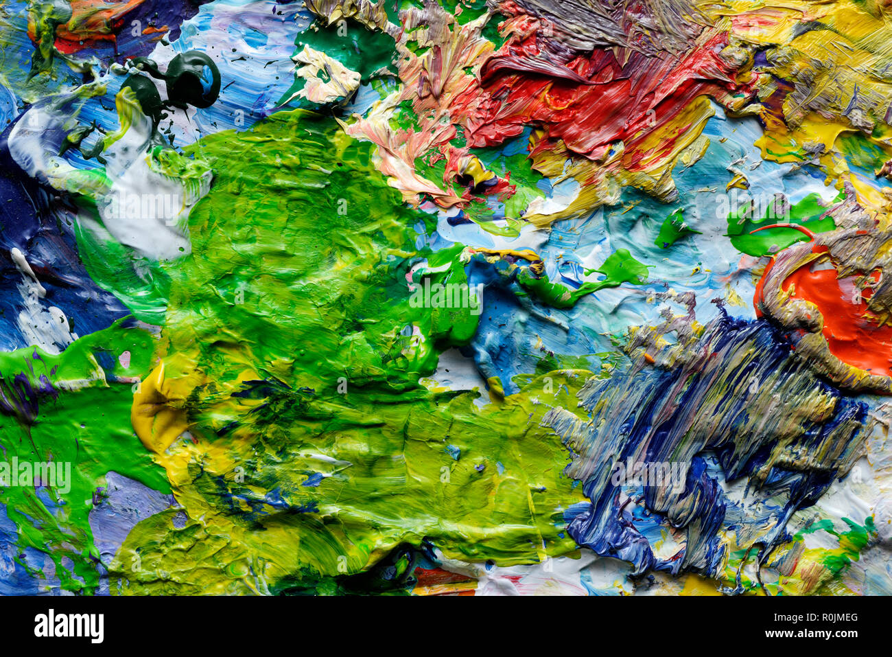 Backgrounds and textures: colorful paint spots, closeup shot, abstract texture - Stock Image