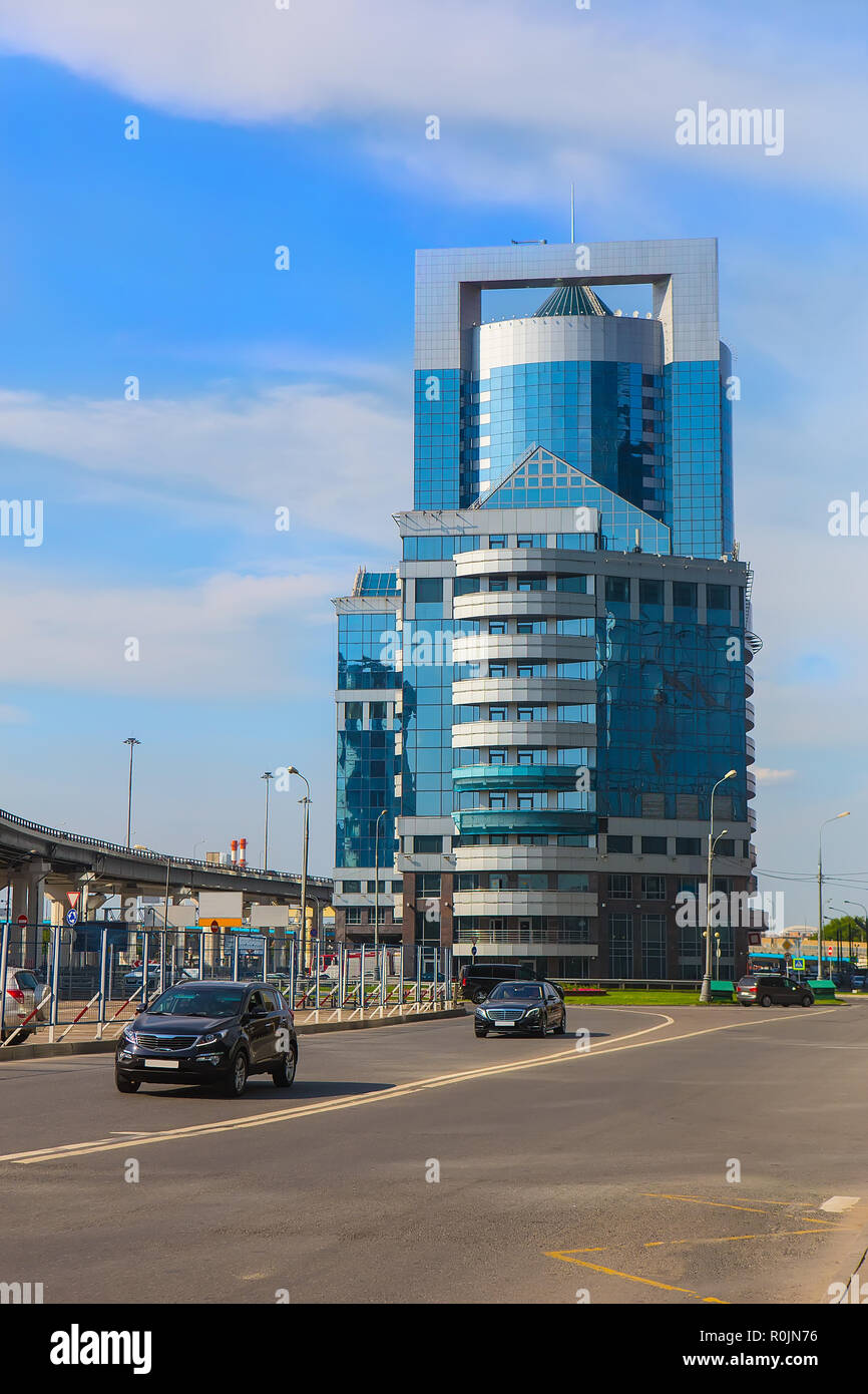 Road traffic, overpasses, bridges business center in the center of Moscow - Stock Image
