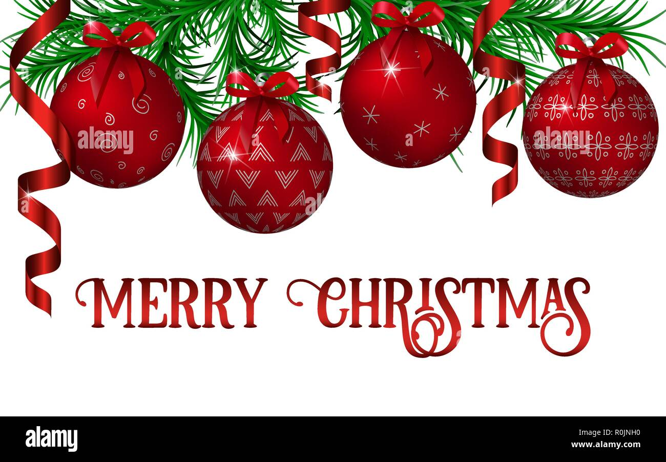 Christmas And New Year Decoration Template With Fir Tree Garland