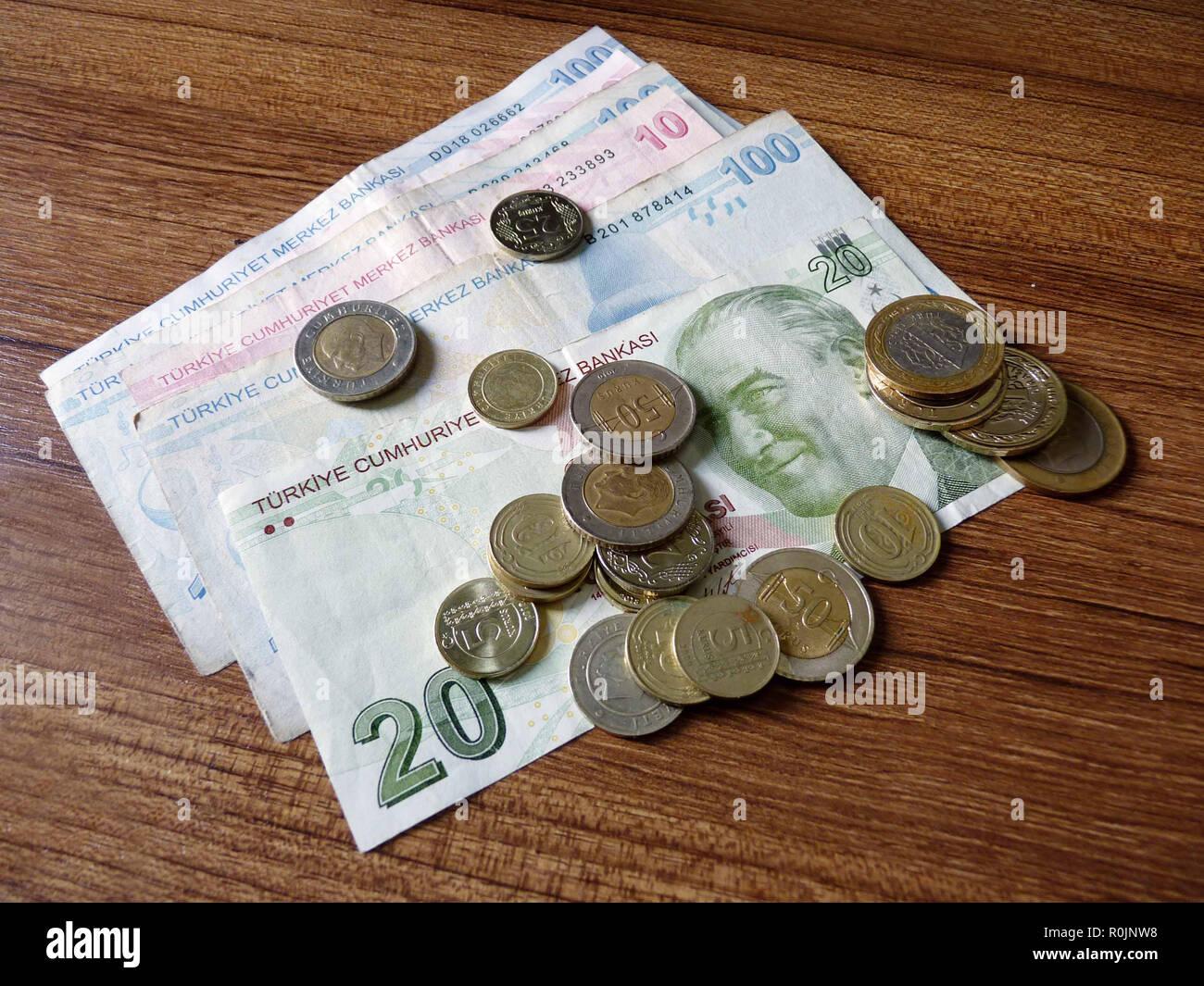 Paper money and coins of turkish lira. Turkish lira bills Stock Photo