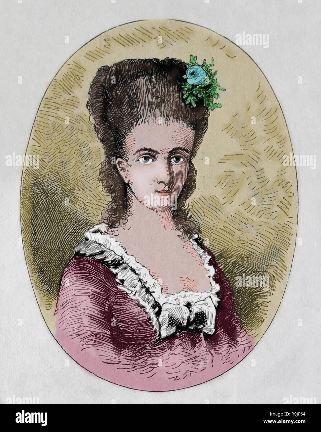 Charlote von Kalb (1761-1843). German writer, associated with Schiller, Goethe, Jean Paul and Holderlin. Engraving, 1882. - Stock Image