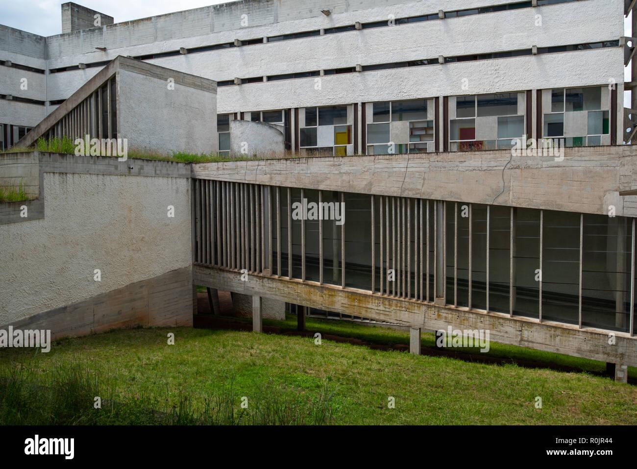 Part view of La Tourette, Eveaux or Sainte Marie de La Tourette: a building designed by the famous French Architect Le Corbusier located near Lyon. - Stock Image