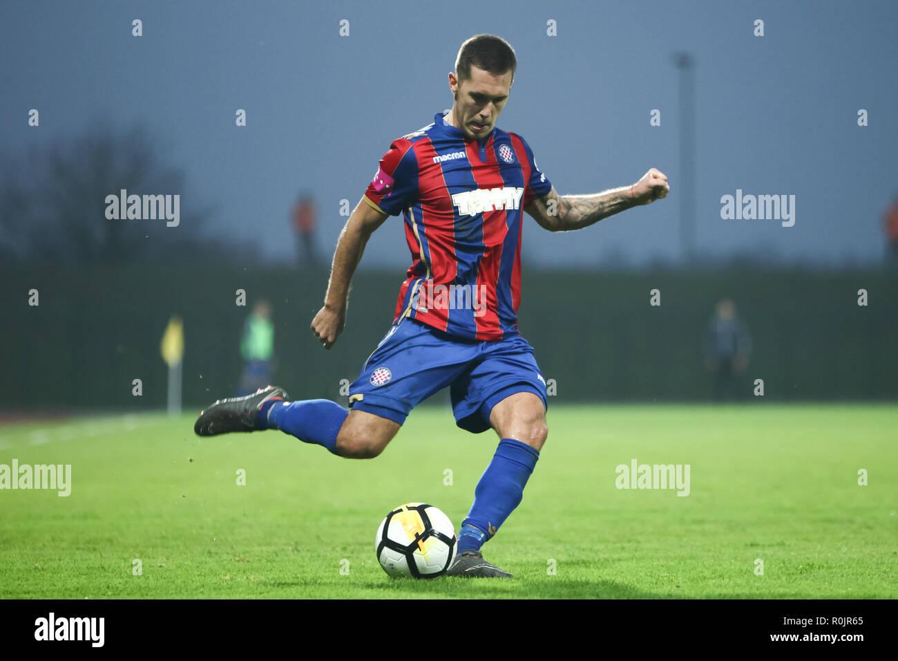 Velika Gorica, Croatia - 4th November 2018 : The first football Croatian league Hrvatski Telekom, football game between Hnk Gorica and Hajduk on Goric - Stock Image