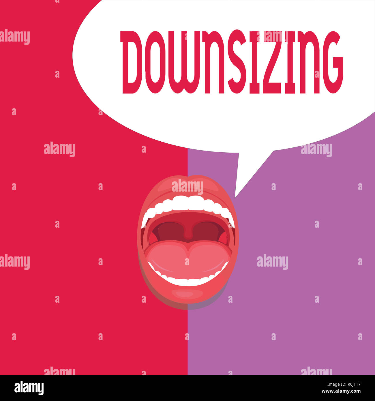 Writing note showing Downsizing. Business photo showcasing Make a company smaller by shedding staff Expenses reduction. - Stock Image