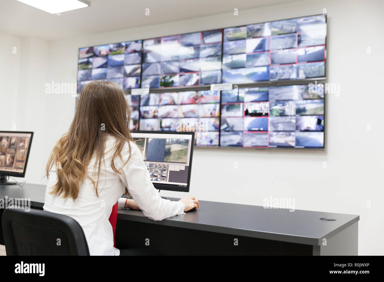 Security system operator. Security surveillance. - Stock Image