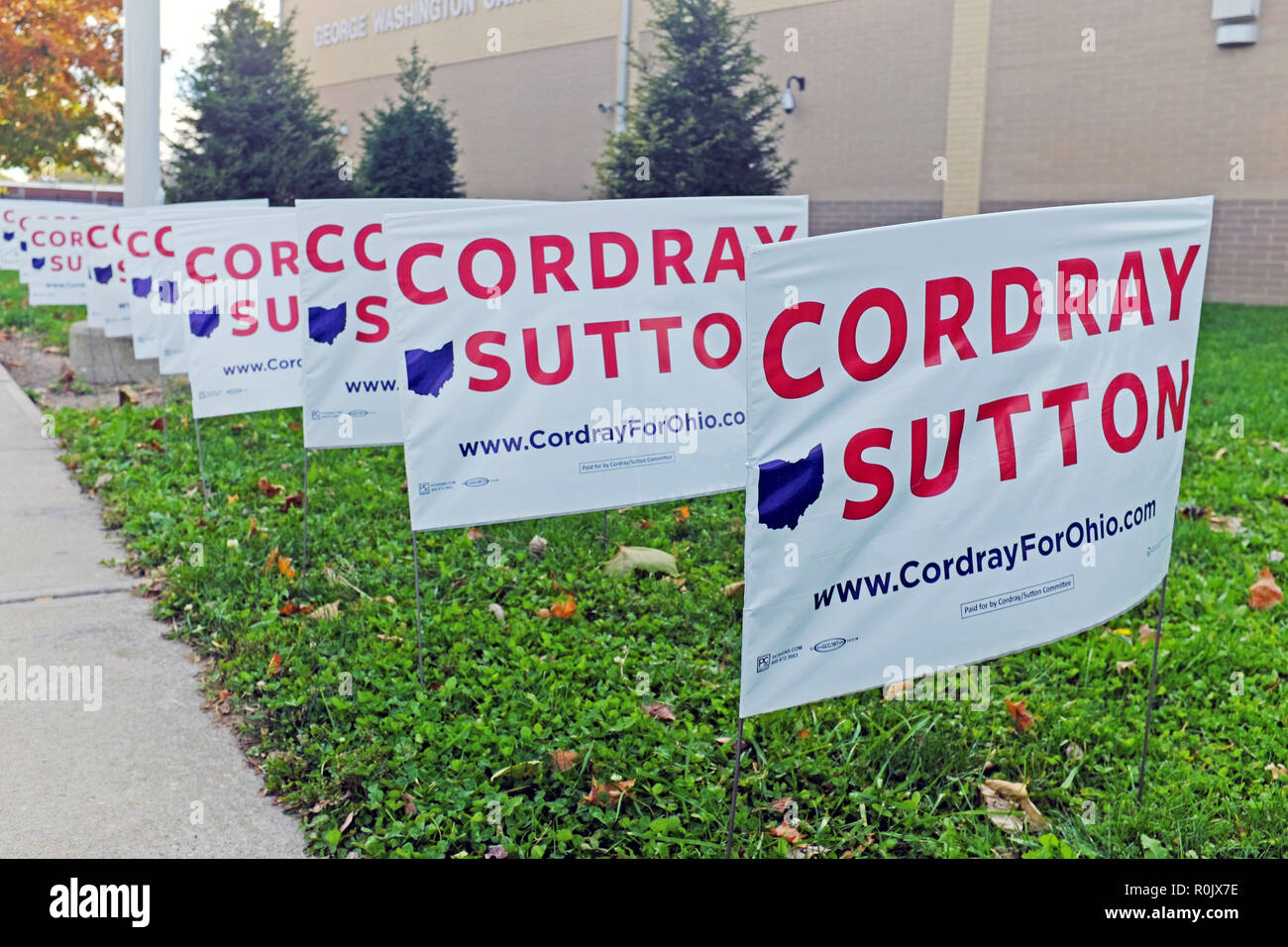 Cordray Sutton political signs are posted outside George Carver Washington School in Cleveland, Ohio, USA where a rally for the two occurred. - Stock Image