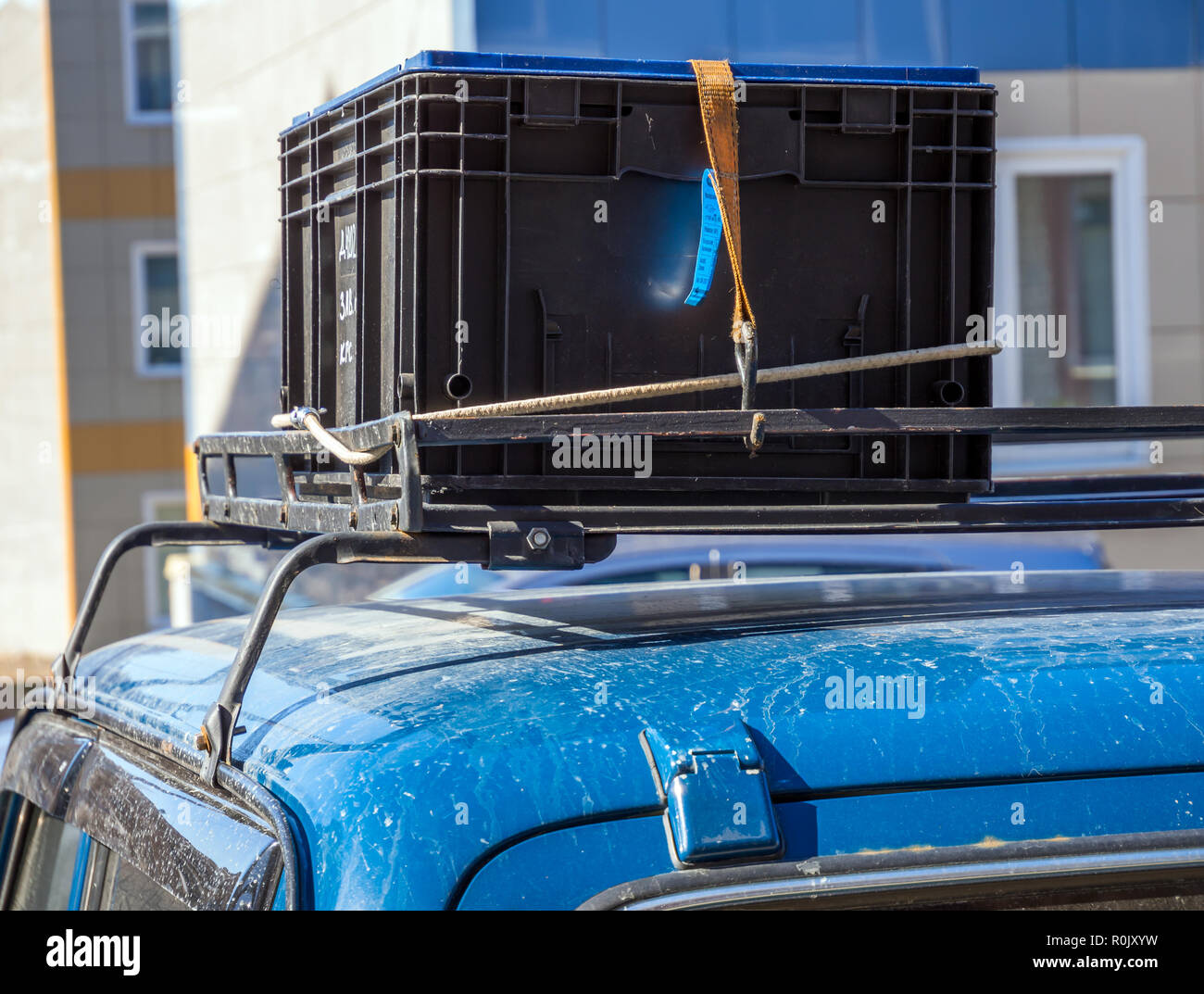 Cargo mounted on the trunk of the car - Stock Image