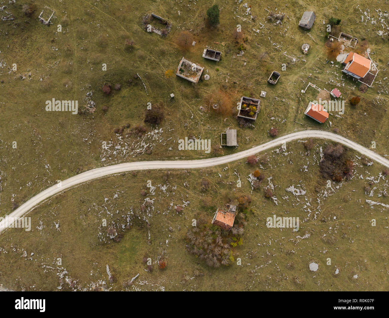 aerial view over village destroyed by Balkan war, Bosnia. Stock Photo