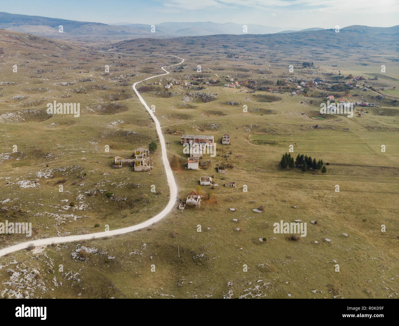 Aerial view over village destroyed by Balkan War,Bosnia. Stock Photo