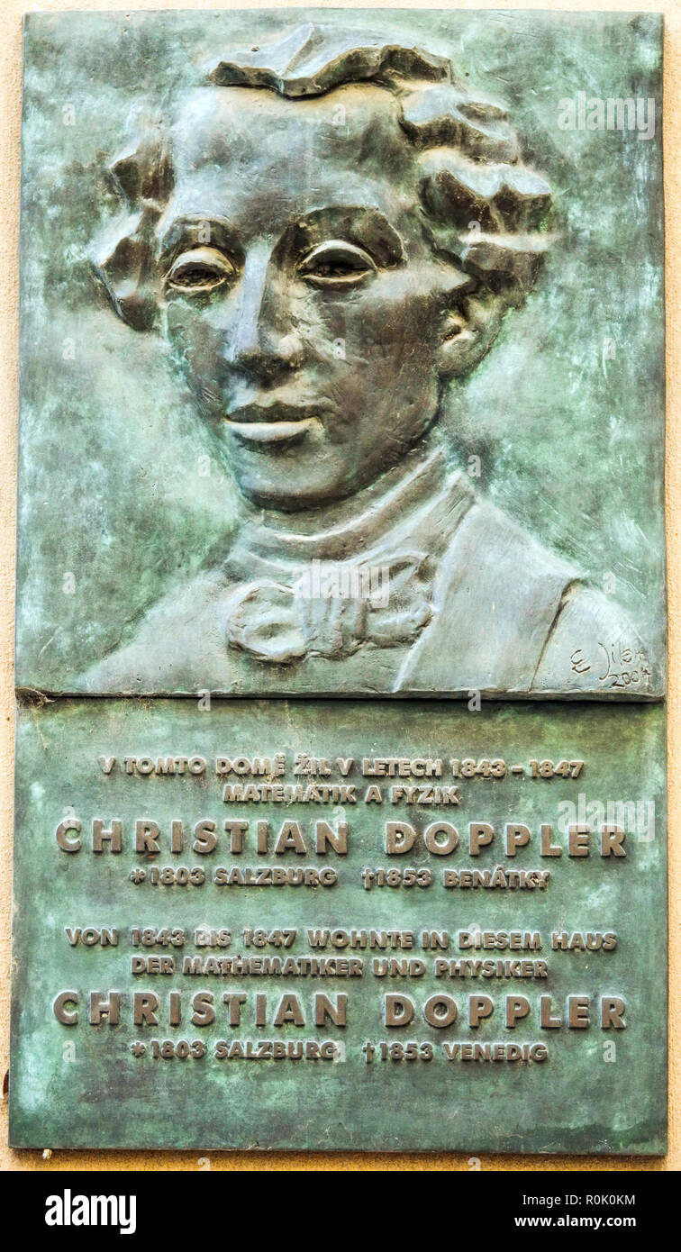 Christian Doppler, Prague bronze relief house, Austrian mathematician and physicist - Stock Image