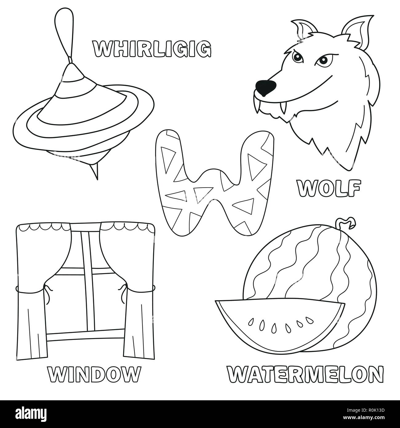 Black and white cartoon vector illustration of letter w coloring book