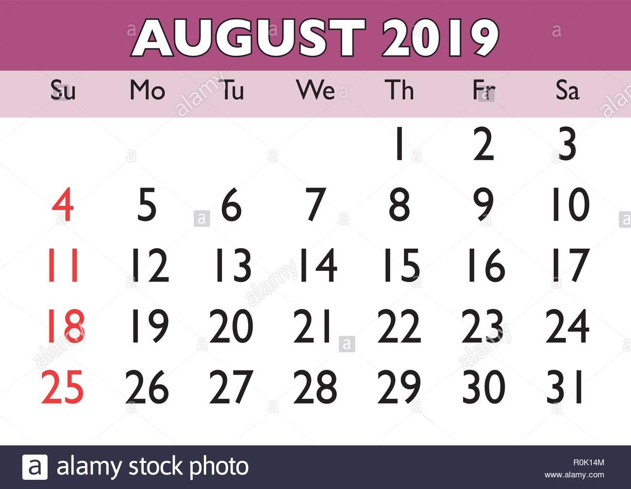 2019 Calendar August Month Vector Printable Calendar Monthly