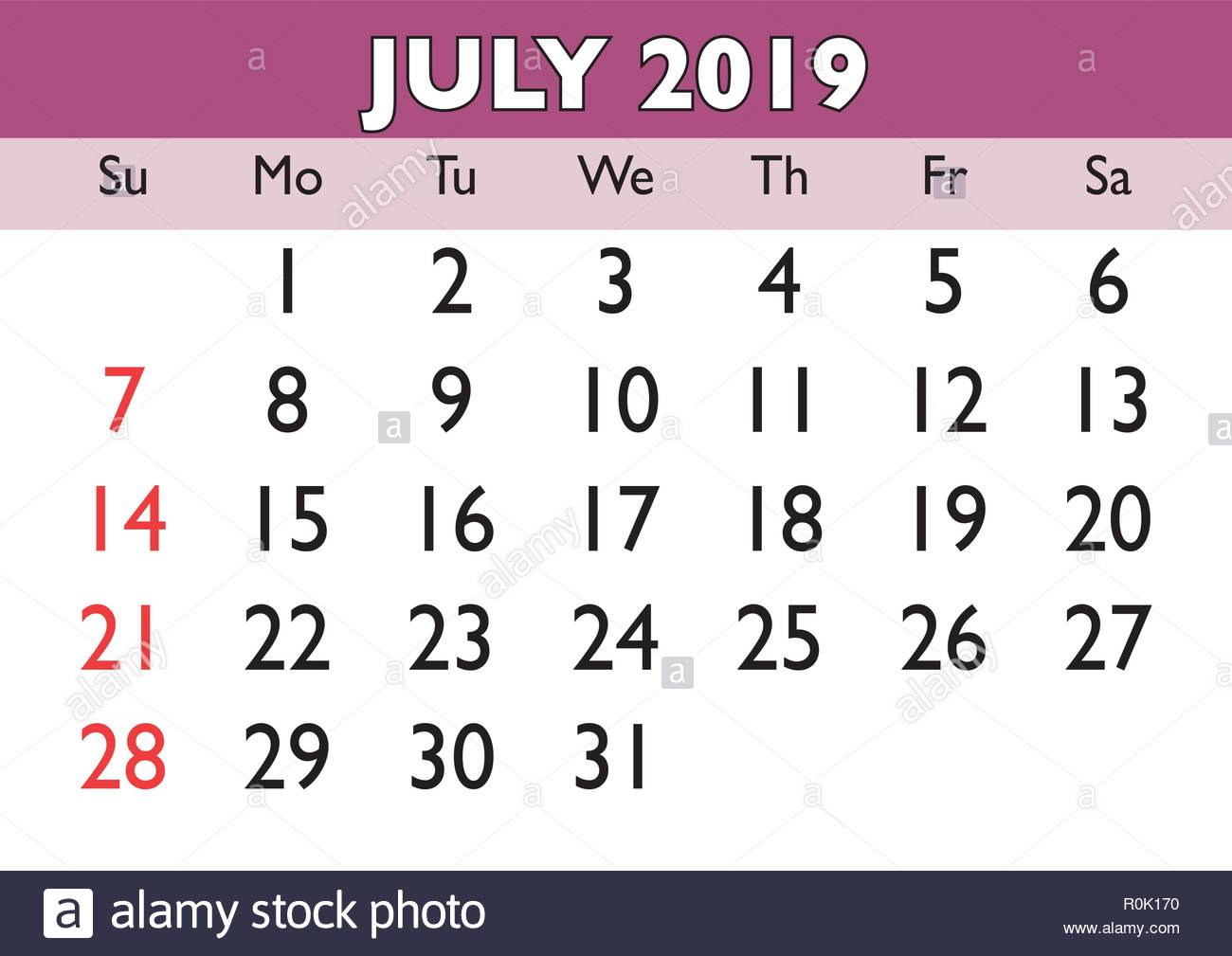 2019 Calendar July Month Vector Printable Calendar Monthly