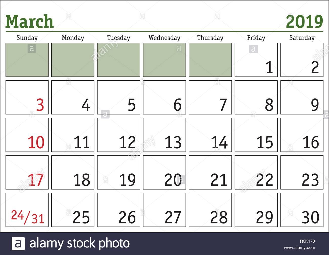 simple digital calendar for march 2019 vector printable calendar monthly scheduler week starts on sunday english calendar