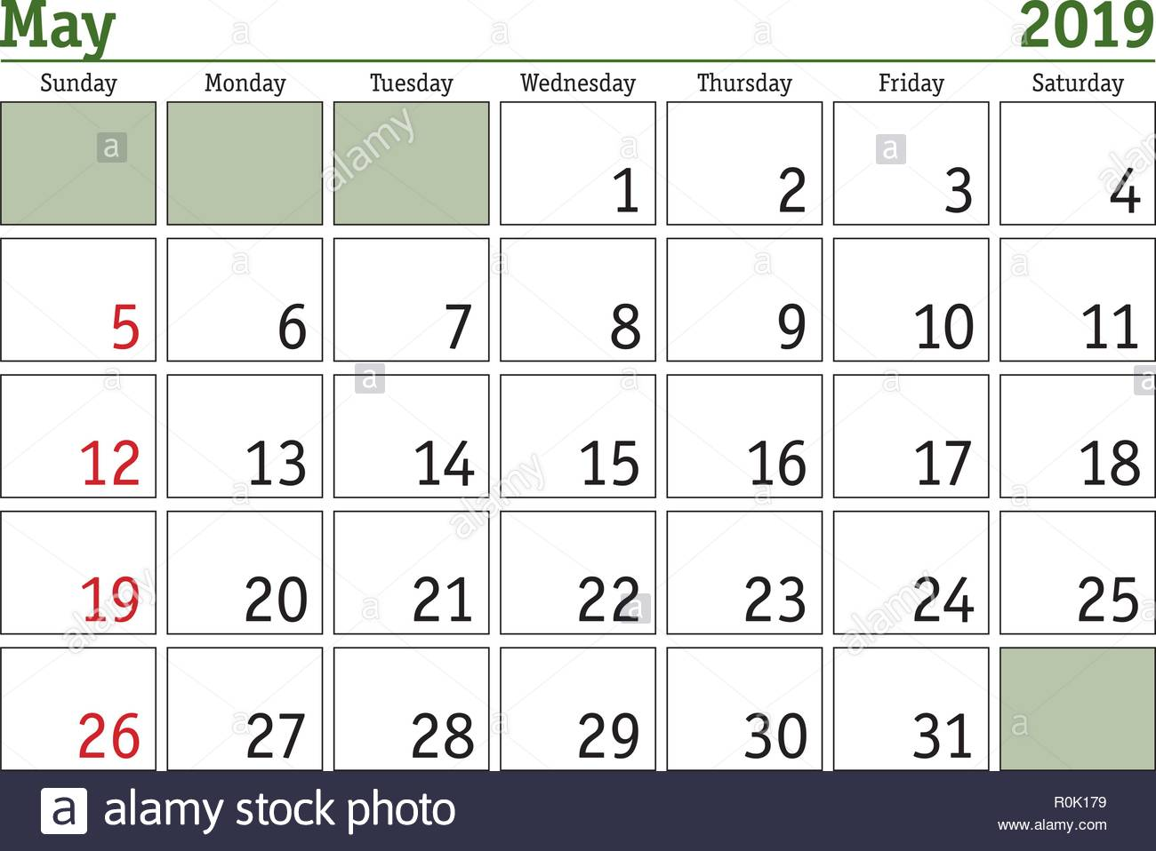 Simple Digital Calendar For May 2019 Vector Printable
