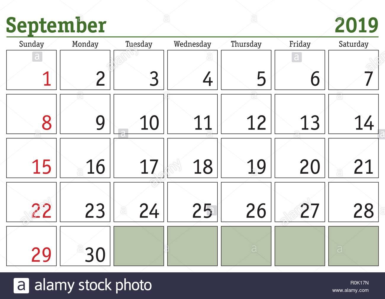 Simple Digital Calendar For September 2019 Vector Printable