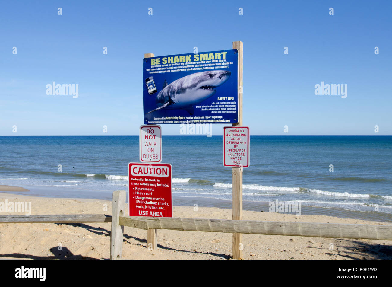 Shark warning signs on the Cape Cod National Seashore posted after Great White shark attacks at LeCount Hollow Beach in South Wellfleet Massachusetts - Stock Image