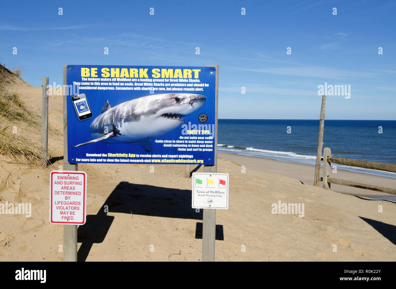 Shark warning signs on Cape Cod National Seashore Cahoon Hollow beach in Wellfleet posted after Great White shark attacks - Stock Image