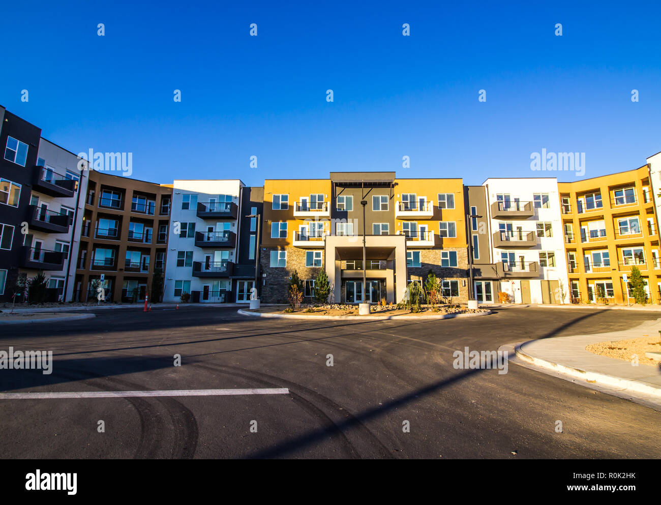 New Multi Story Senior Apartment Building Nearing Completion - Stock Image