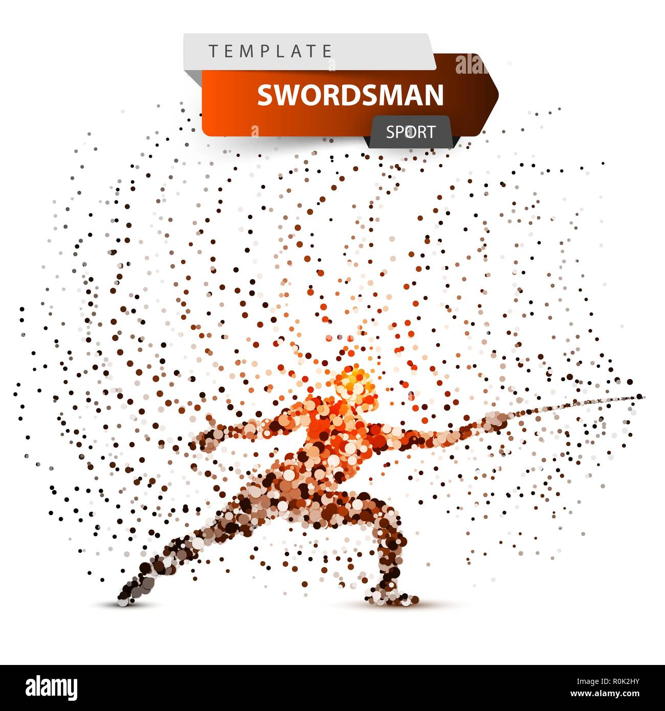 Sportsman, swordsman - glare dot illustration. - Stock Image