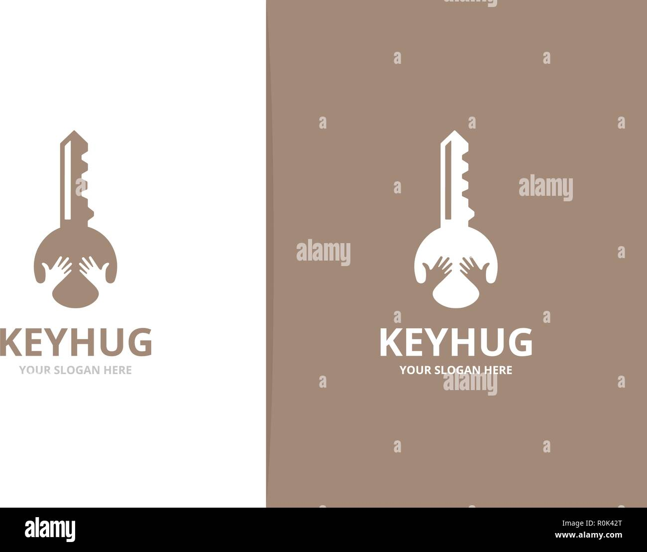 Vector key and hands logo combination. Lock and embrace symbol or icon. Unique house and friendship logotype design template. - Stock Image