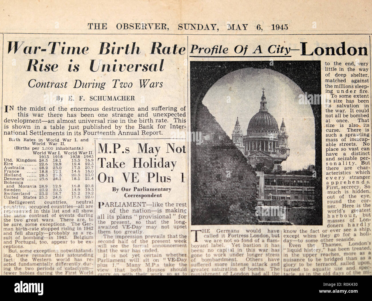 WWII article in The Observer newspaper 'War-Time Birth Rate Rise is Universal Contrast During Two Wars'  Second World War London England UK May 6 1945 - Stock Image