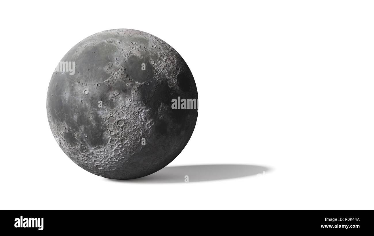 moon isolated on white background - Stock Image