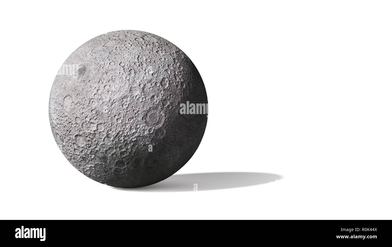 far side of the moon isolated on white background - Stock Image