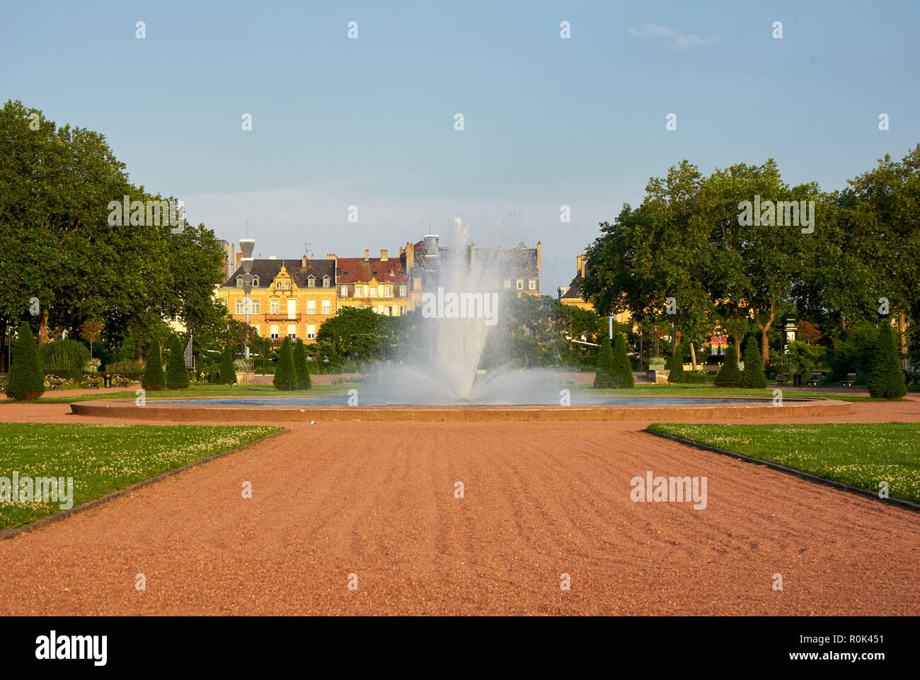 Fountain At Arsenal's Park Metz France - Stock Image