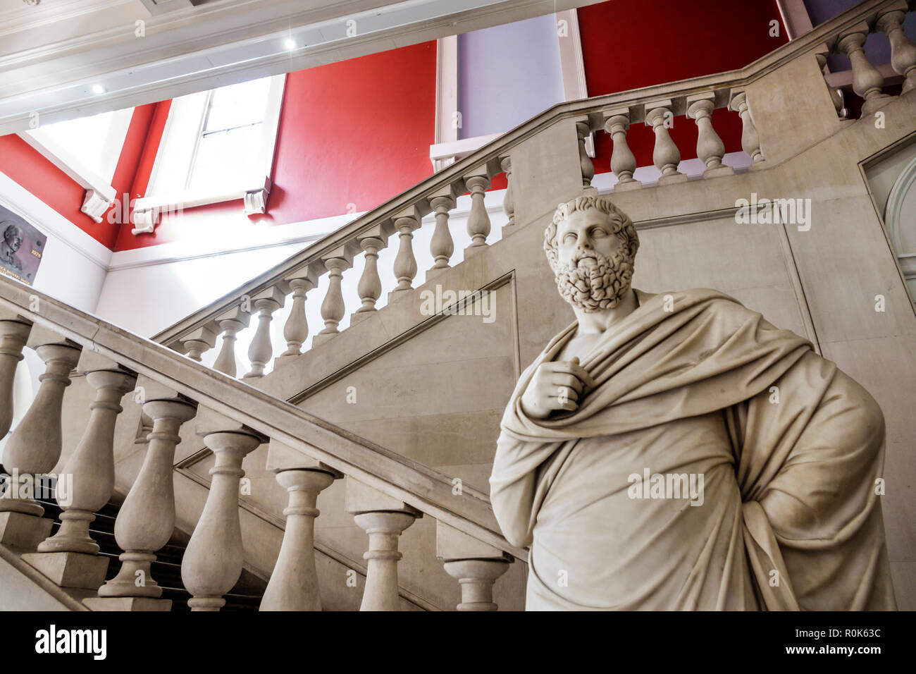 London England United Kingdom Great Britain Covent Garden Strand King's College King's Building campus public research university foyer stairs Sophocl - Stock Image