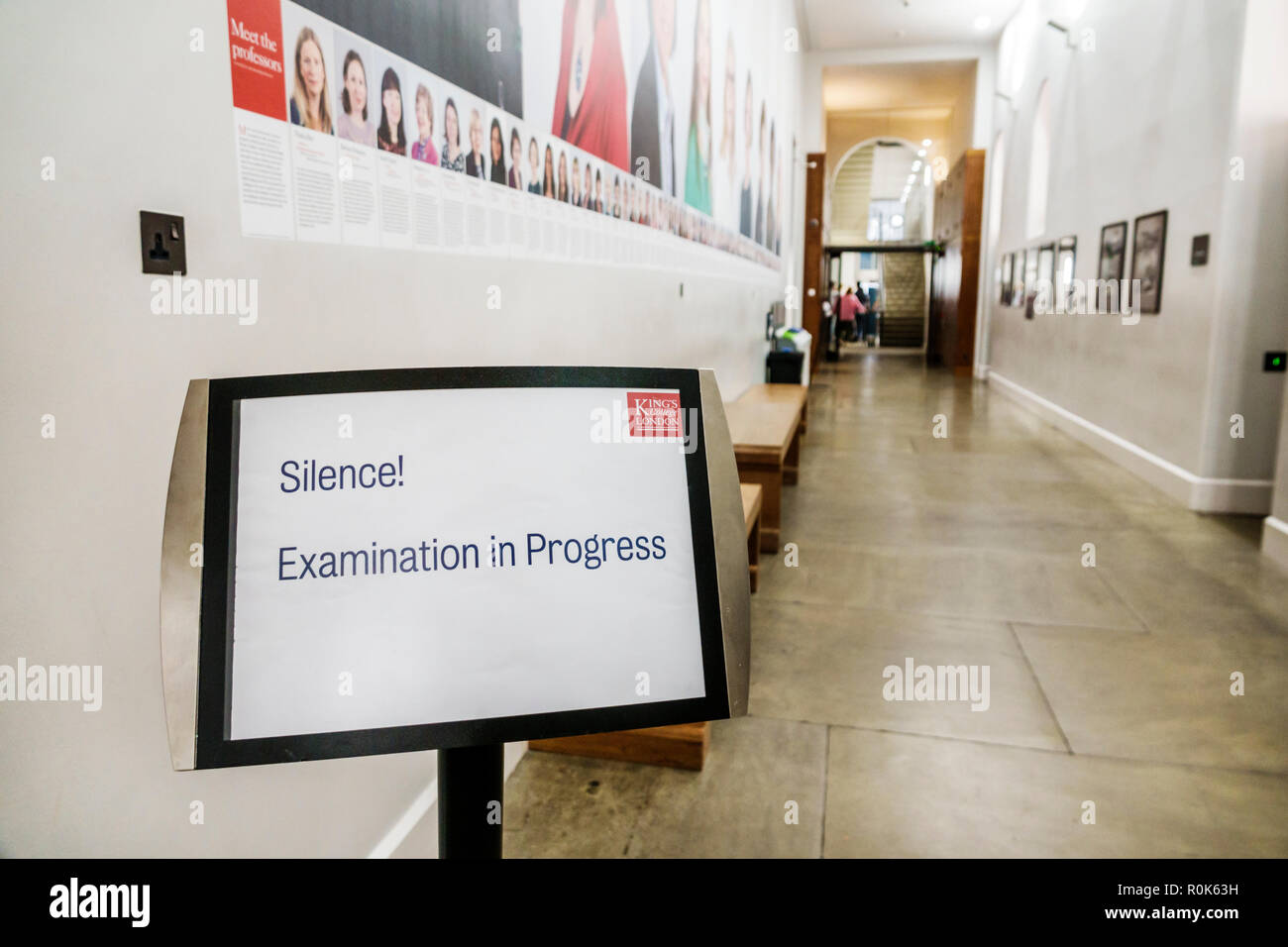London England United Kingdom Great Britain Covent Garden Strand King's College King's Building campus public research university hallway sign silence - Stock Image