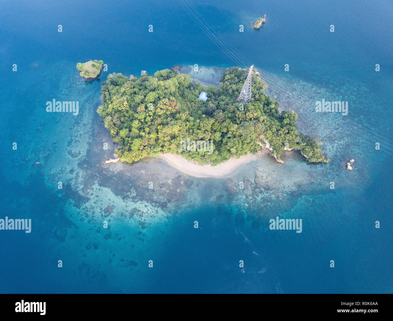An aerial view of Lembeh Strait at the northern tip of Sulawesi in Indonesia. - Stock Image