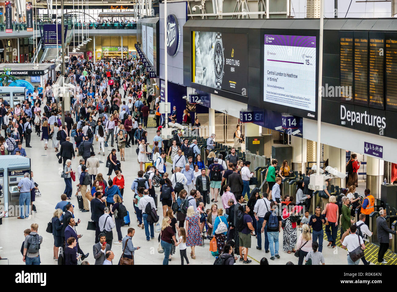 London England United Kingdom Great Britain Lambeth South Bank Waterloo Station trains railway concourse passenger commuters terminal man woman crowd - Stock Image