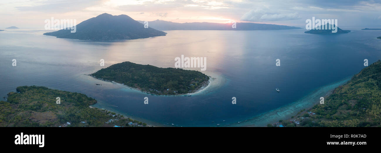 An aerial view of the volcanic islands in the Pantar Strait of Indonesia. - Stock Image