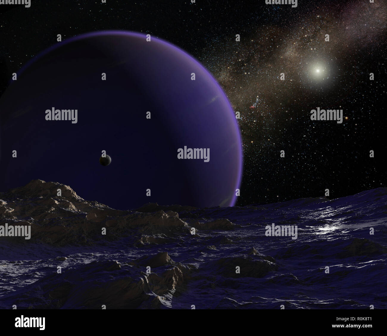 Artist's concept of hypothetical Planet 9. - Stock Image