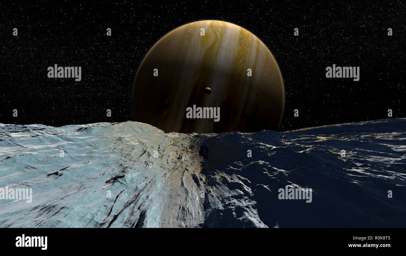 The smooth ice field of Europa. - Stock Image