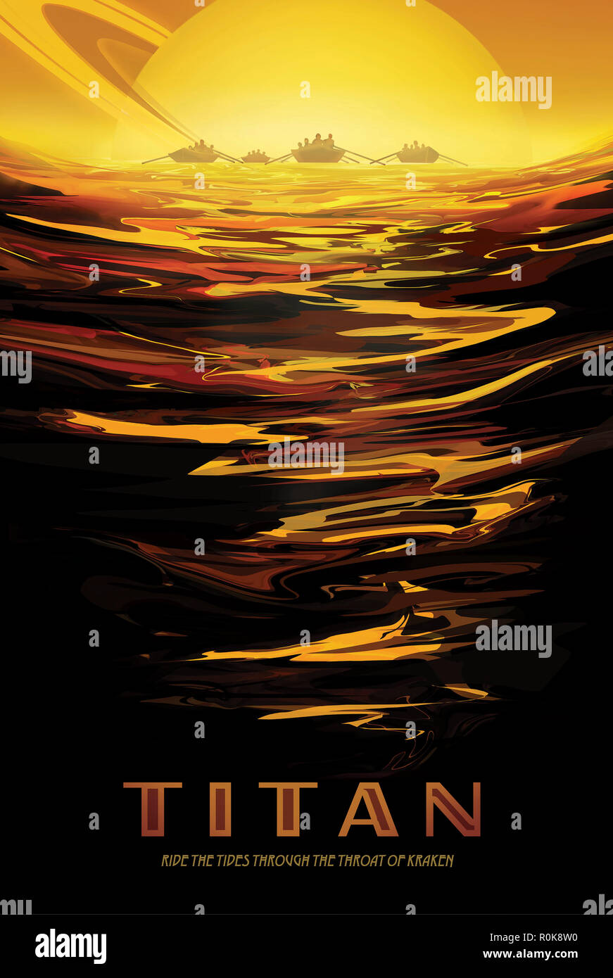 Retro space travel poster of Saturn's largest moon, Titan, and its thick atmosphere. - Stock Image