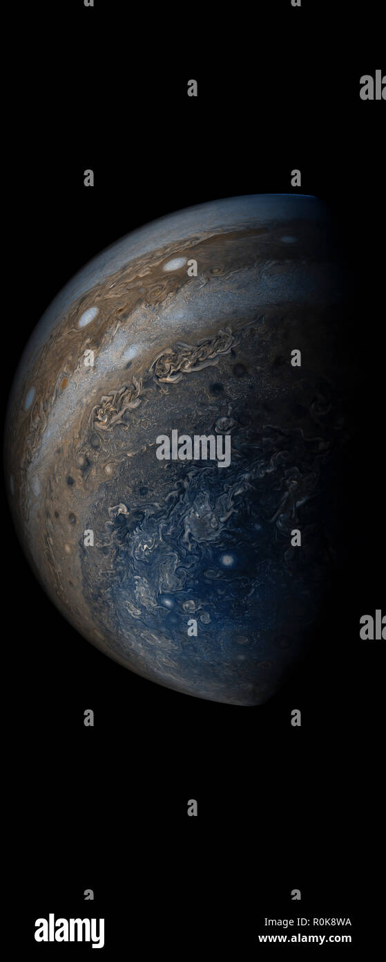 Enhanced color view of planet Jupiter's stormy atmosphere. - Stock Image