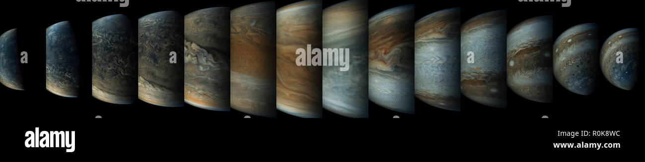 Sequence of 14 color enhanced images of planet Jupiter taken from the Juno spacecraft. - Stock Image