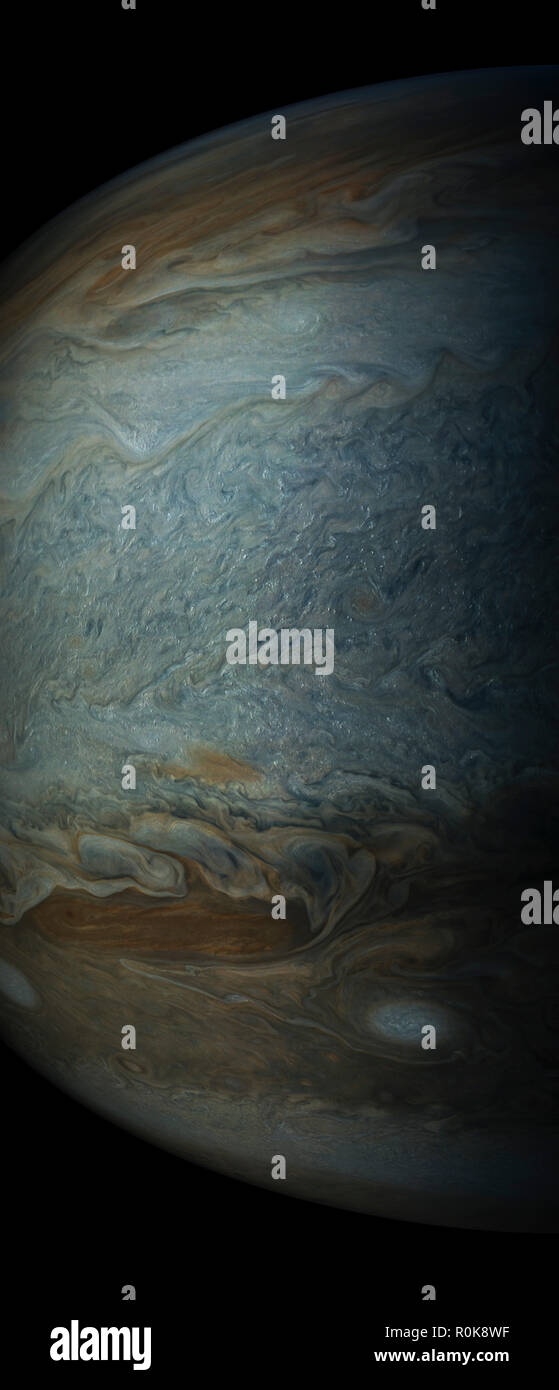Enhanced color view showing clouds in Jupiter's south tropical zone. - Stock Image